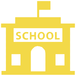 Yellow schoolhouse icon